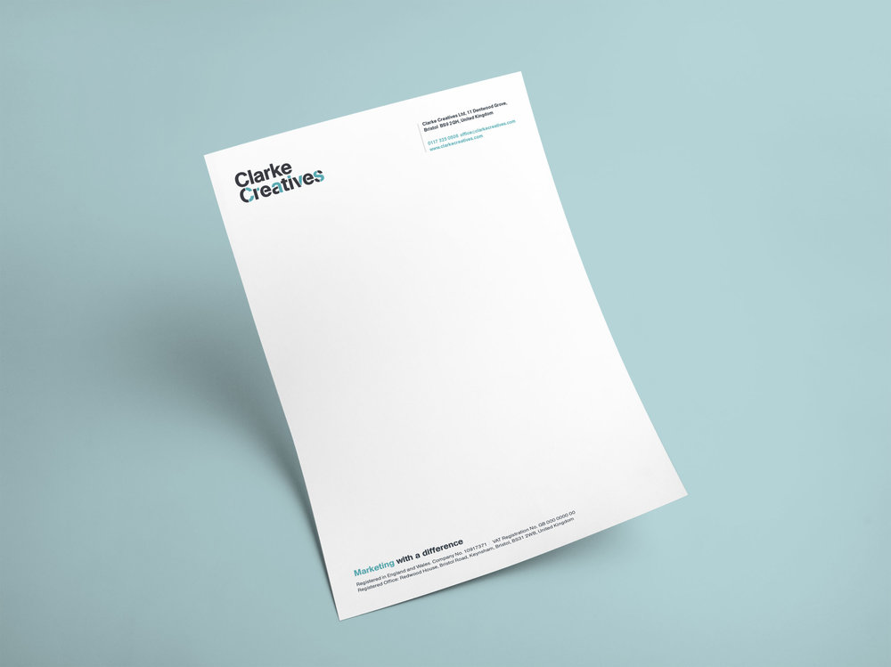 Clarke Creatives letterhead stationery design