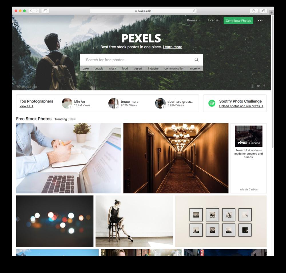 Pexels website