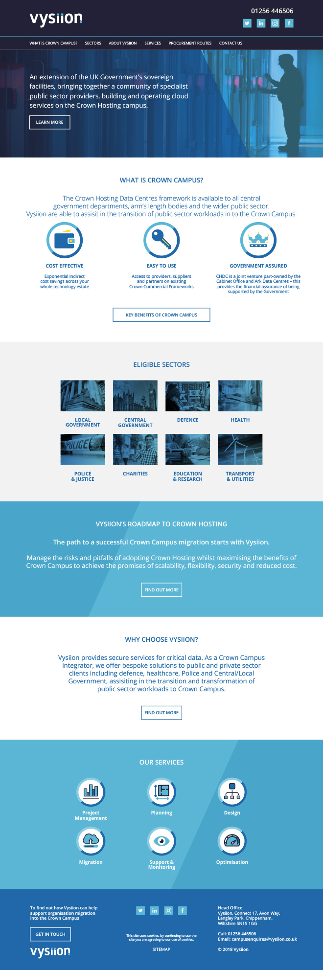 Vysiion Crown Campus home page design layout