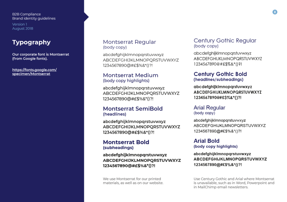 Excerpt from the brand guidelines document – typography