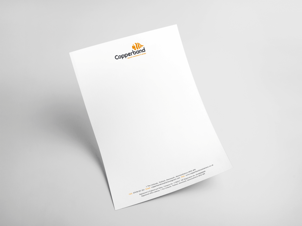 Copperband letterhead stationery design