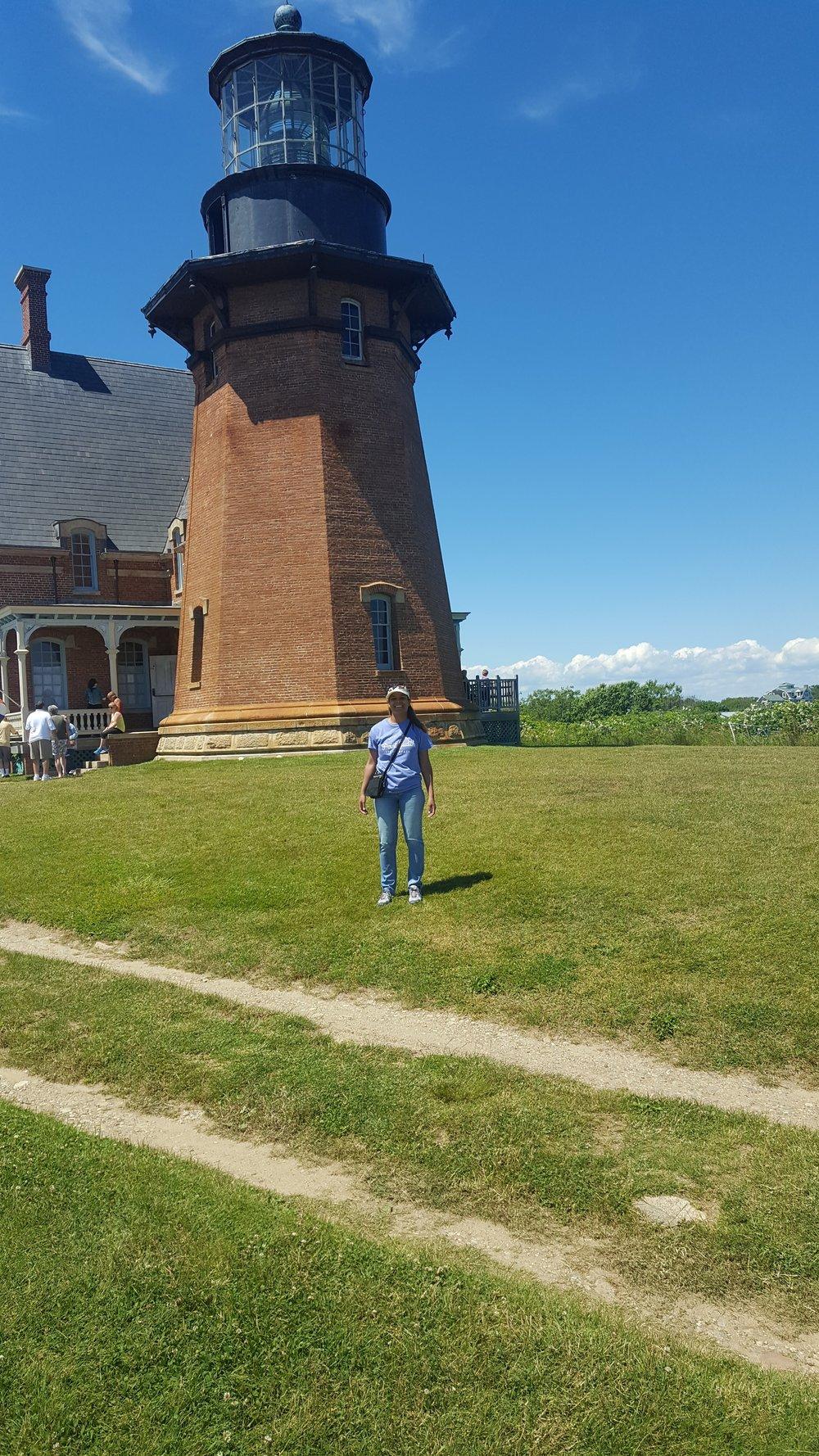 Tourist at the Southeast Lighthouse on Block Island, RI