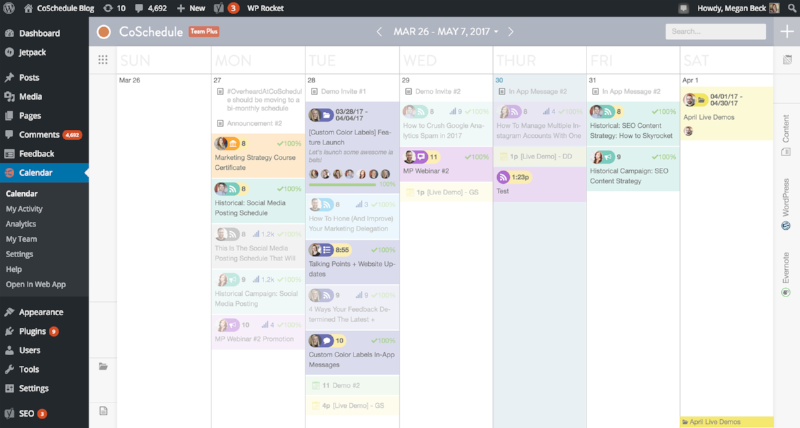 This is the Coschedule calendar view of scheduled blog content for WordPress.