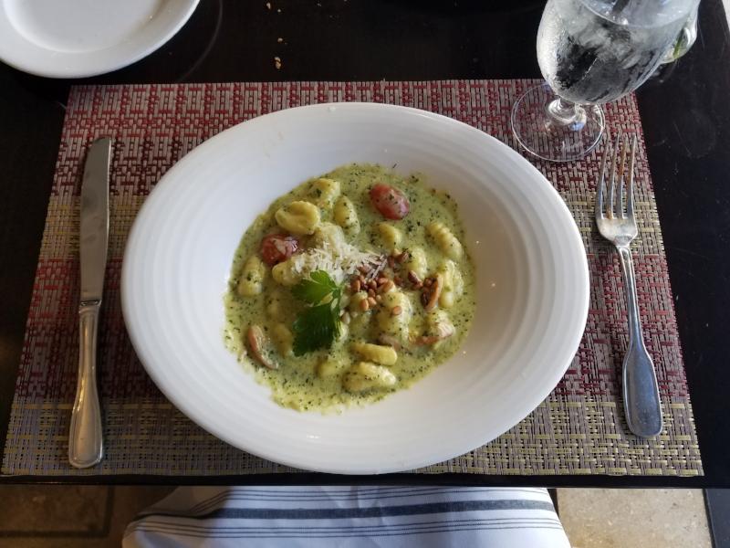 Homemade gnocchi in a pesto cream sauce @ La Pastaia inside Hotel De Anza in San Jose, CA