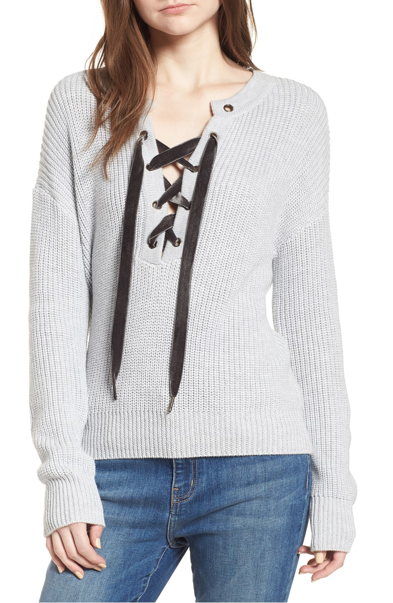 Olivia Lace-Up Sweater @ Nordstrom
