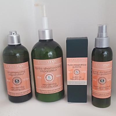L'Occitane Aromachologie Repairing Shampoo and Conditioner Sublime Repairing Oil Heat Protective Control Mist
