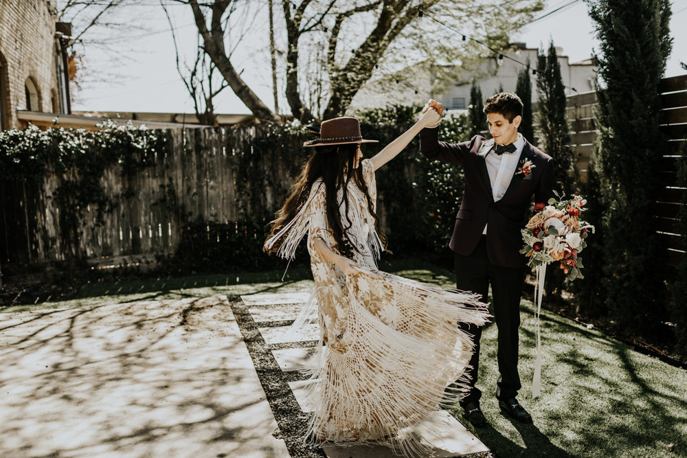 Intimate Bohemian Wedding at One Eleven East in Hutto, Texas