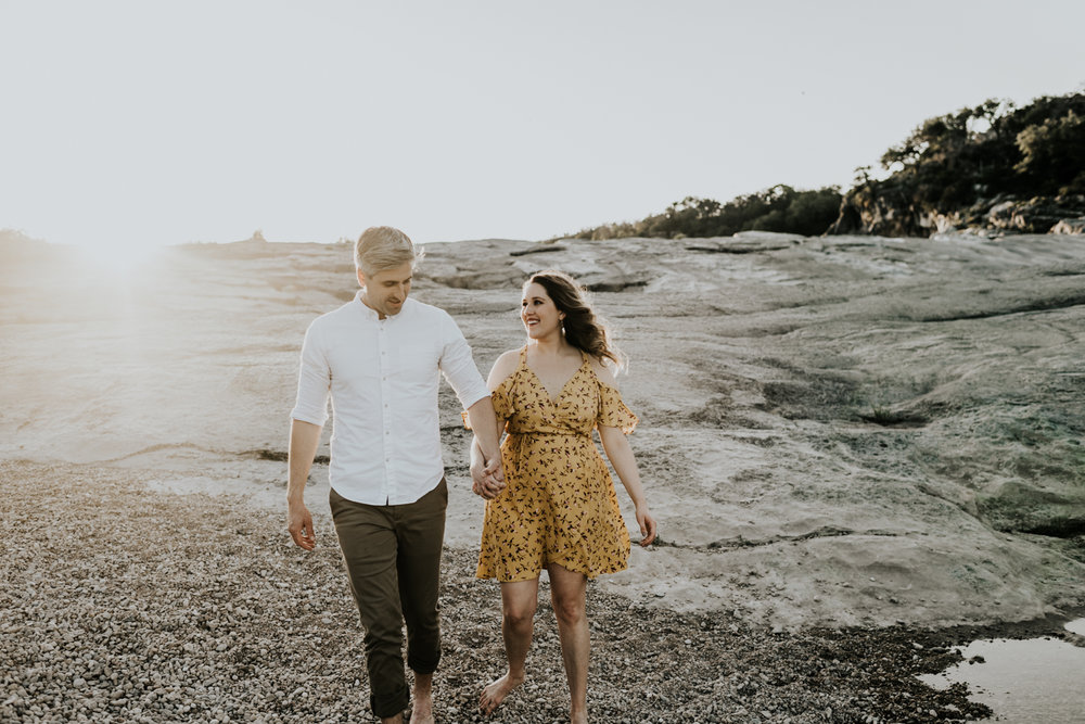 Texas Hill Country Adventurous Engagement Session at Collective Retreats and Pedernales Falls, Texas