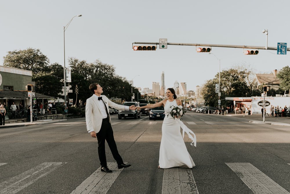 Intimate Wedding Bride and Groom Modern Portraits Austin Texas