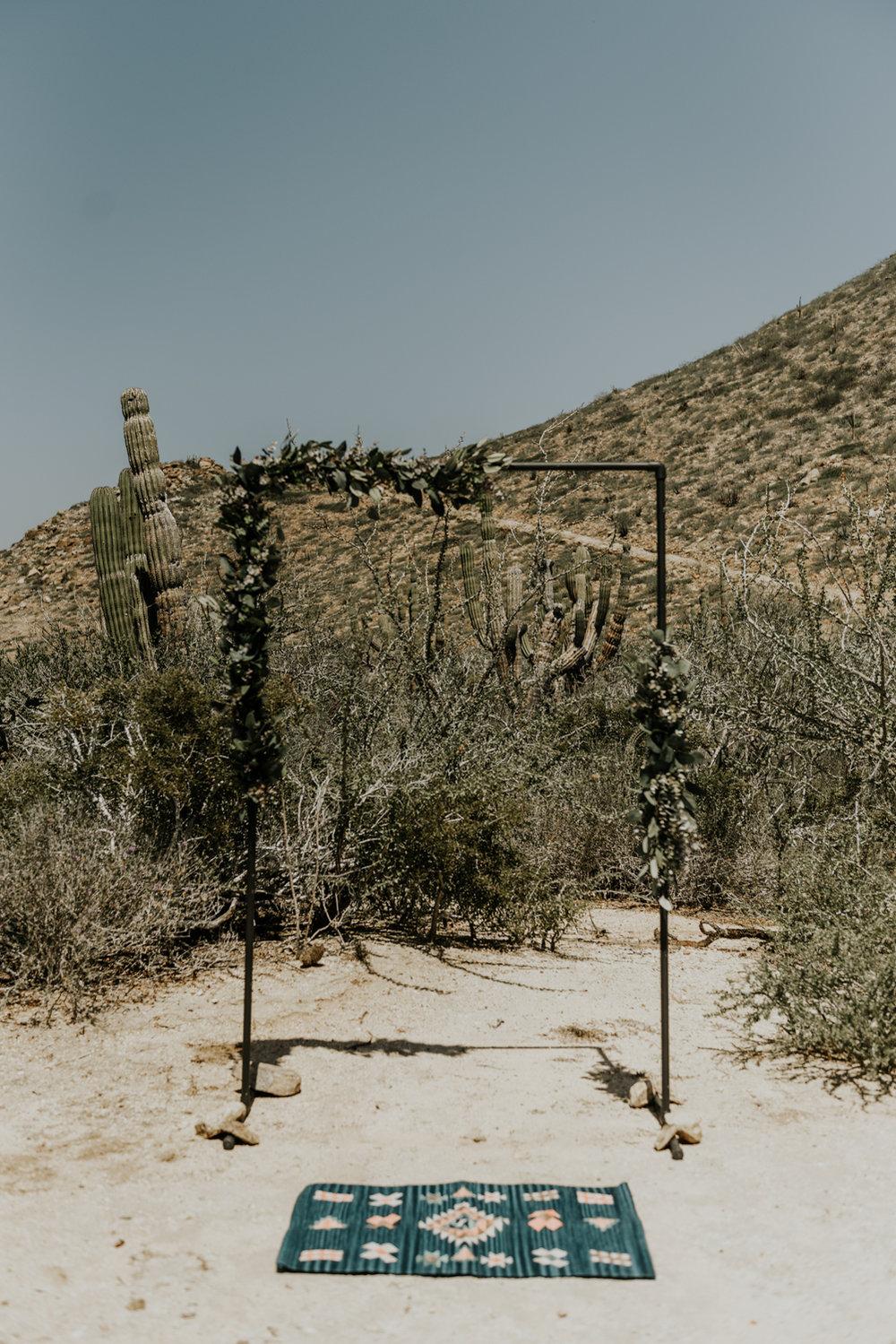 DIY Wedding Arch at Ceremony site in Todos Santos, Baja California