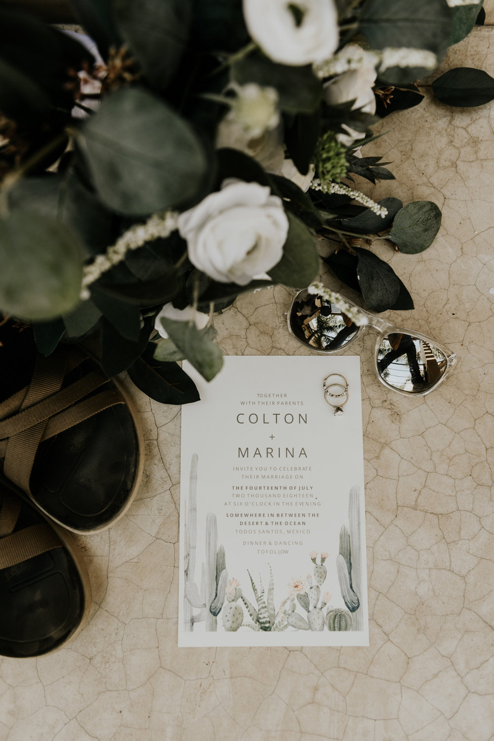 Destination Wedding Invitation cacti design, Todos Santos