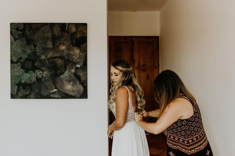 Bride Getting Ready, Elopement in Hotel Casa Tota, Todos Santos, Mexico