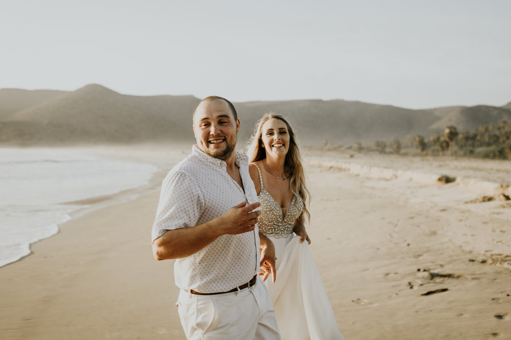 Couple at the beach after their Baja California Elopement