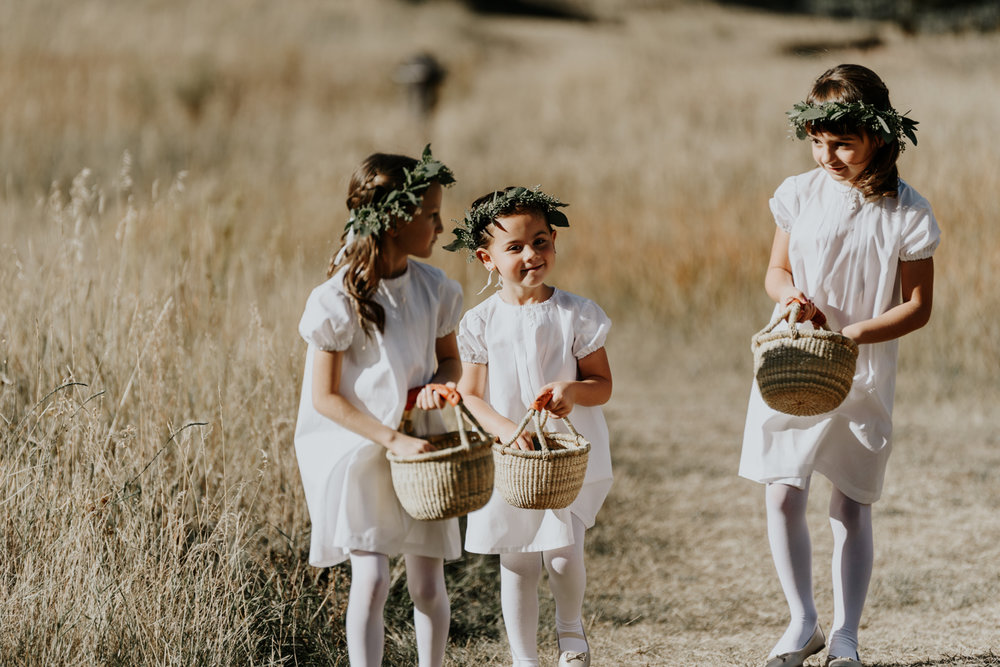 Intimate Mountain Wedding Flower Girls Photos in Meadow Creek, Pine Colorado