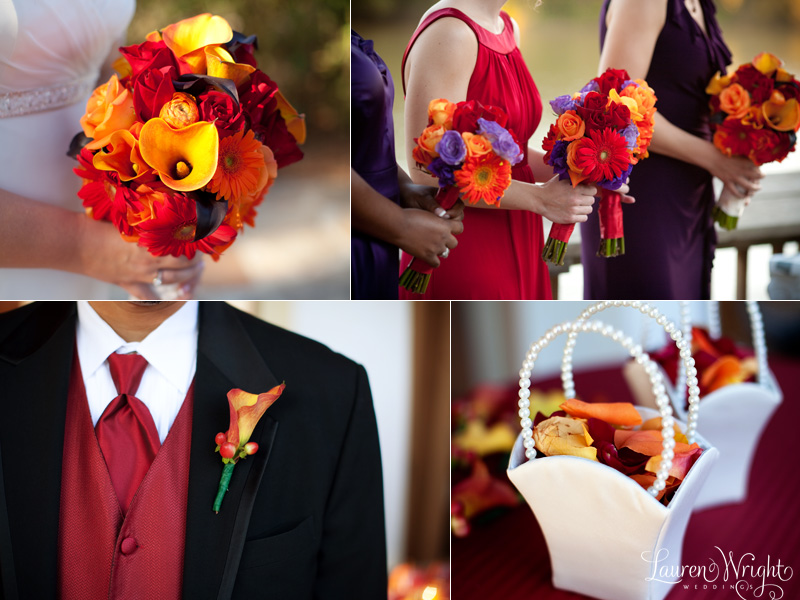 red purple orange bouquets