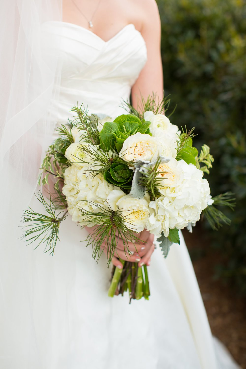 Kristin's textured green and white bouquet was the perfect design for her  Summerour wedding .