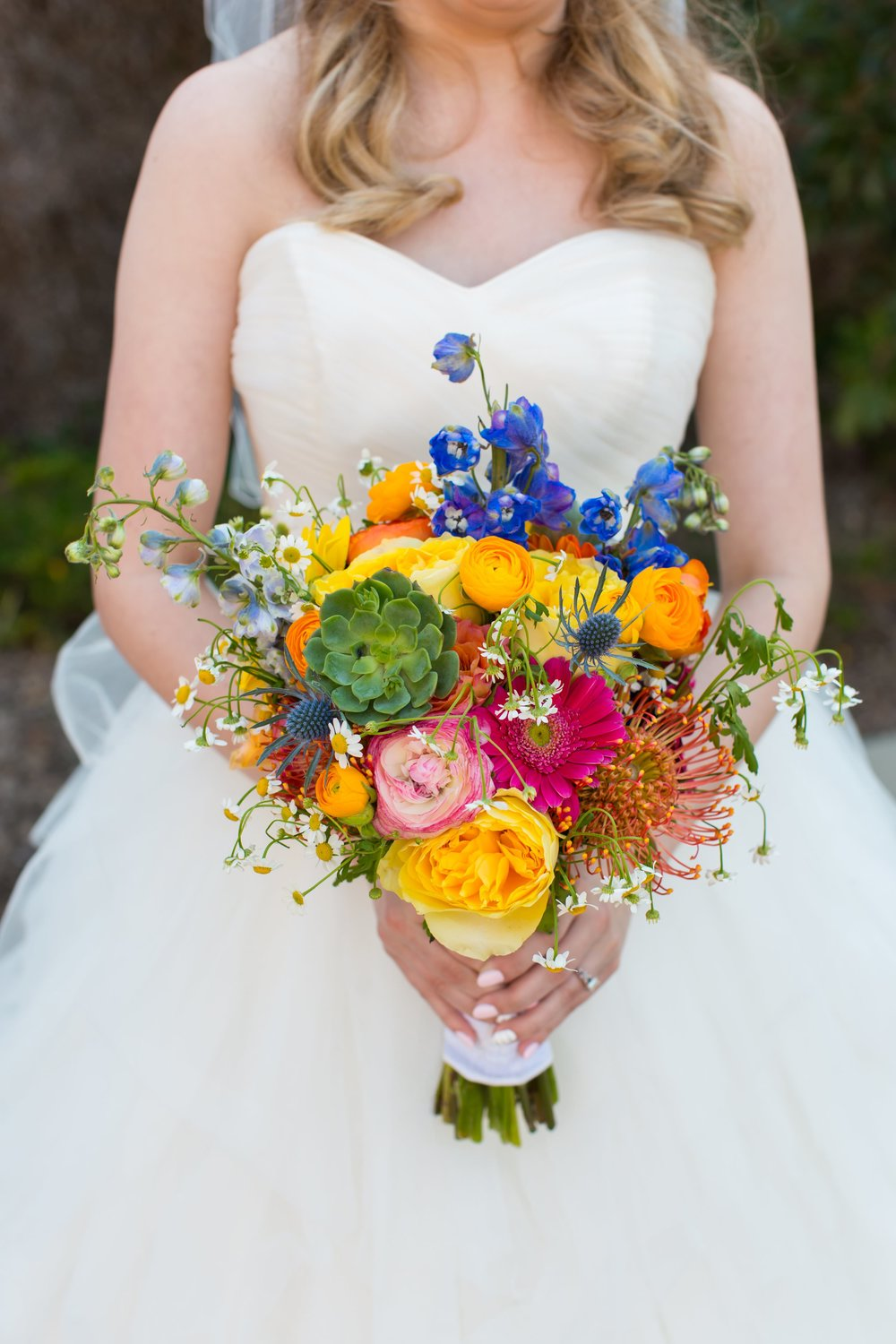 I absolutely adore Noelle's funky, vibrant bridal bouquet by  Lagrange wedding florist Sweet Pea Floral Designs . The design is fresh and fun, and it coordinated perfectly with her bridesmaid's yellow dresses! To view more from Kevin and Noelle's  Glendalough Manor wedding, click here .