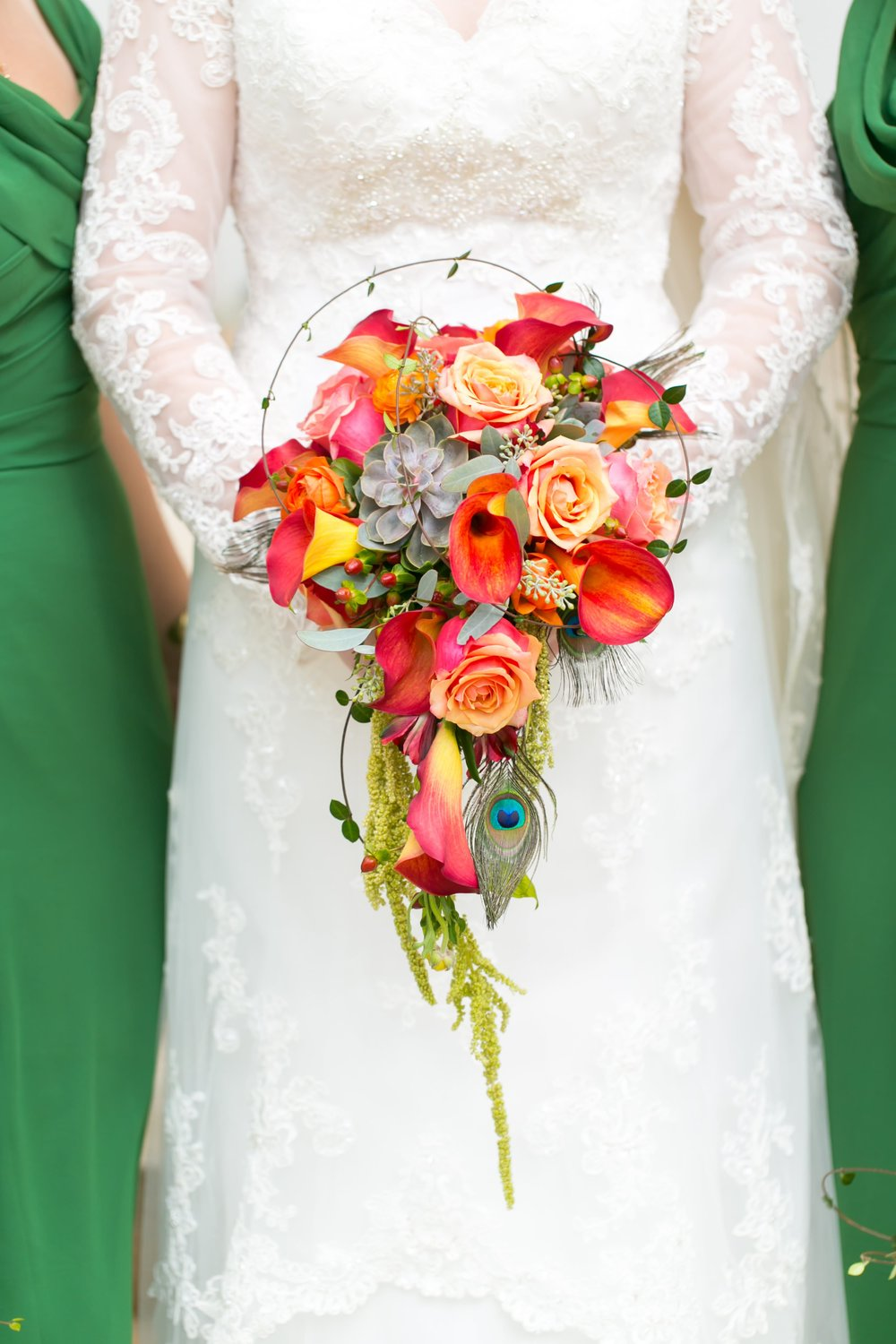 Fall inspired bridal bouquet by  Atlanta wedding florist Laurens Florals . To view more from Zach and Brittany's  elegant fall wedding at Wieuca Road Baptist Church, click here .