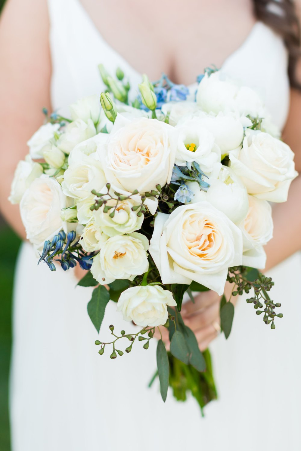 Blue and white bridal bouquet by Atlanta florist Kimberly Evans.