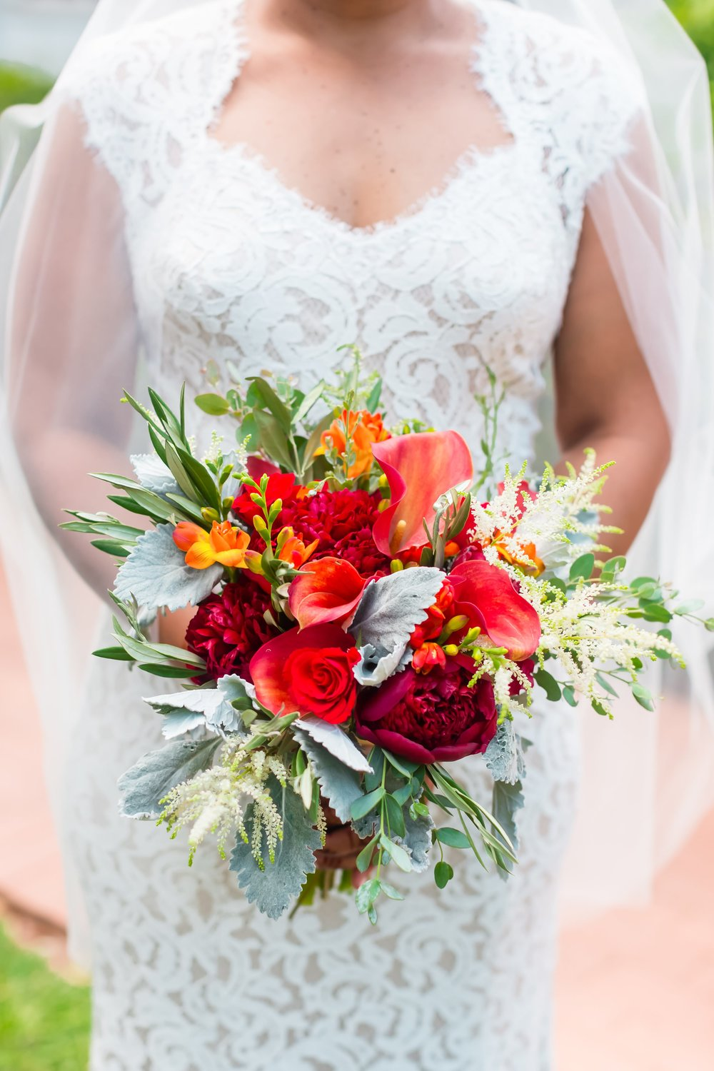 Fall colored bouquet by  Atlanta wedding florist K and Co Flowers