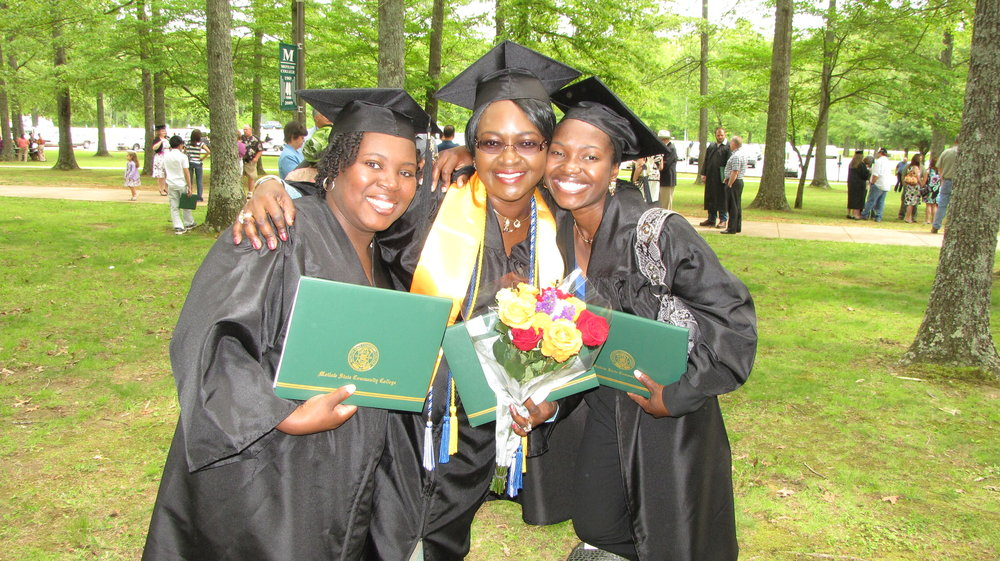 Adrienne King, Veronica Olanrewaju and Amina Dauda at graduation