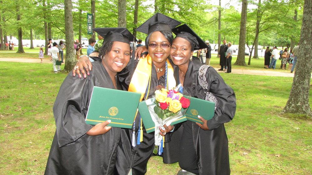 Adrienne King, Veronica Olanrewaju and Amina Dauda at graduation