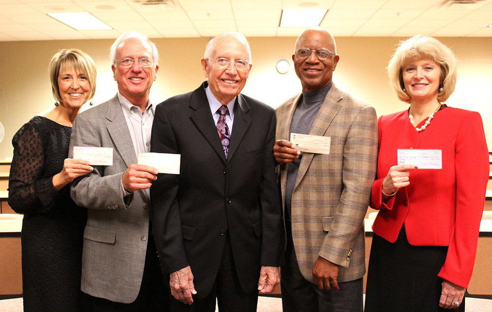 """Former Motlow presidents make donation to '$90 for Sam's 90th'  Motlow State Community College presidents make the first gifts to the Motlow College Foundation as part of the """"Give $90 for Sam's 90th"""" campaign. Pictured from left; former Presidents Dr. MaryLou Apple, Dr. Frank Glass, Dr. Sam Ingram (center), Dr. Art Walker, Jr. and current Interim President Hilda Tunstill."""