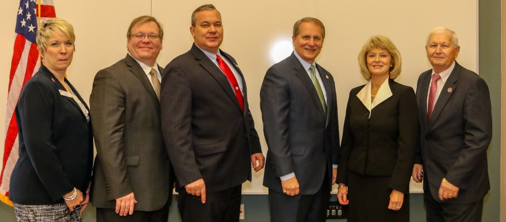 Members of the Tennessee State Legislature and Tennessee Board of Regents (TBR) recently met at Motlow State Community College's annual Legislative Breakfast. The state leaders were joined by local government leaders, members of Motlow's faculty, staff, administration and student body, and by members of the Motlow Foundation. Pictured, from left; Laura Monks, president, Tennessee College of Applied Technology at Shelbyville; Tim Rudd, state representative, District 34; Judd Matheny, state representative, District 47; Bill Ketron, state senator, District 13; Hilda Tunstill, interim president, Motlow; and Warren Laux, president, Tennessee College of Applied Technology at McMinnville.