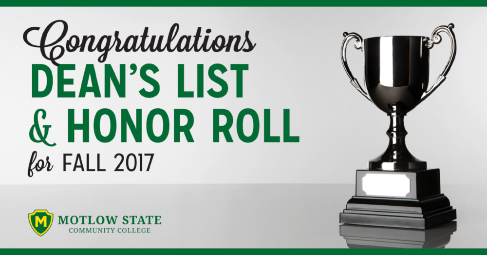 Congratulations Dean's List and Honor roll for fall 2017