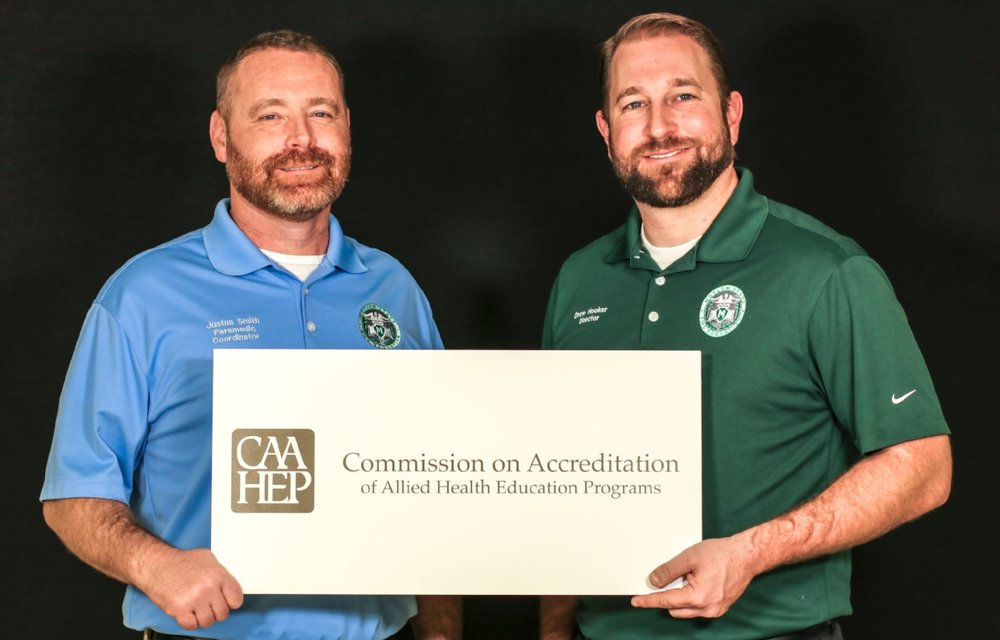 The Motlow State Emergency Medical Service Education program recently received national accreditation from the Commission on Accreditation of Allied Health Education Programs. Pictured above is Justus Smith, left, Motlow paramedic coordinator, and Drew Hooker, Motlow EMS program director.