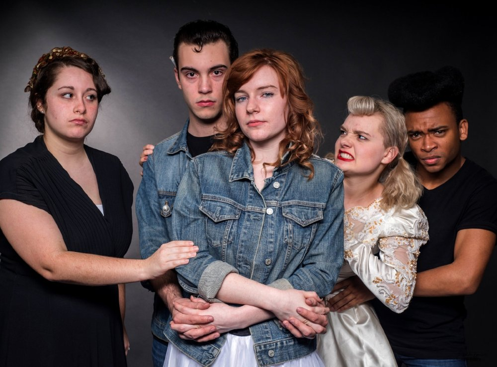 Above are Motlow theatre students, from left, Elizabeth Stambaugh, Zack Hughes, Jachlyne Dobbs, Delaina Black and Edwin Moore. (Photo:  Barr Studios )