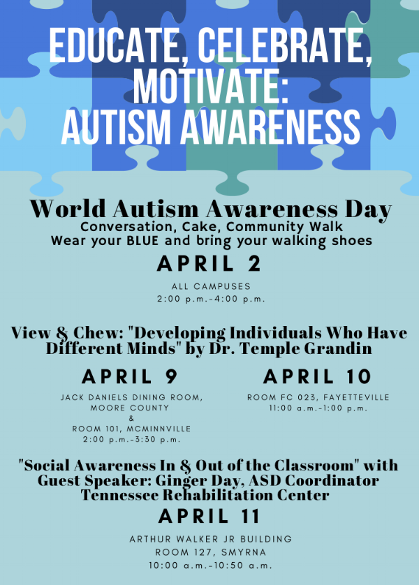 Autism awareness events at Motlow
