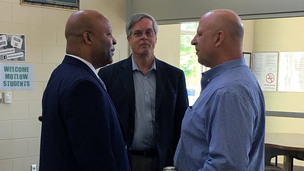 Above DesJarlais, right, discusses the Motlow Mechatronics program with Dr. Torrence, left, and Fred Rascoe, Motlow dean of career and technical programs.