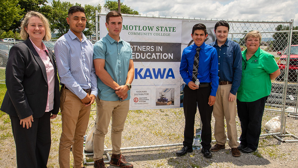 The partnership between Warren County High School (WCHS) and Motlow State Community College is experiencing a high level of success through the Dual Enrollment Mechatronics program. Twenty-seven WCHS students graduated from the program for the 2017-18 academic year.  A groundbreaking ceremony was recently held to celebrate the building of a new Automation and Robotics Training Center adjacent to the Motlow McMinnville campus. Pictured above at the groundbreaking, from left,  are Tracy Risinger, WCHS CTE director; WCHS Mechatronics graduates Jorge Sifuentes, Kaleb Smith, Jorge Villegas and Juan Jantes; and Melissa Paz, Motlow Mechatronics instructor.