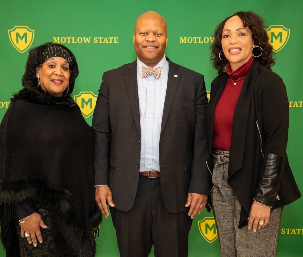 Dr. Kimetta R. Hairston, right, a 2018-2019 American Council on Education (ACE) Fellow, brought her expertise in diversity, inclusion and multicultural curriculum to Motlow State Community College recently. Pictured with Dr. Hairston are Dr. Phyllis Adams, left, Motlow communications professor; and Dr. Michael Torrence, Motlow president. Motlow photo.