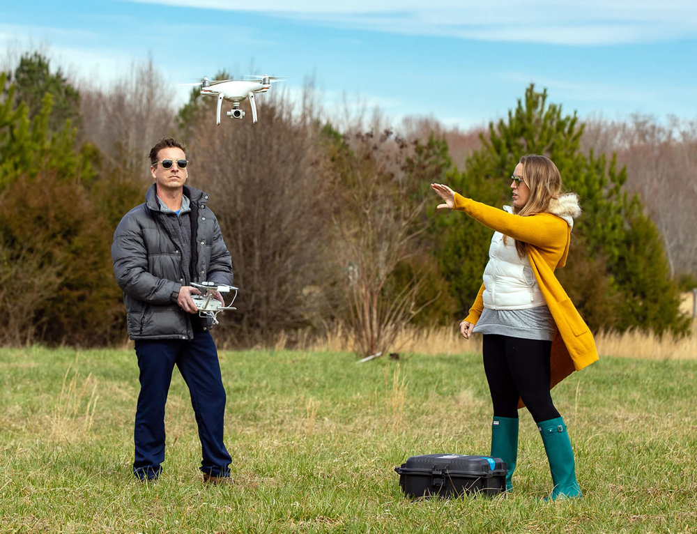 Motlow State Community College is sponsoring drone education classes in March and April to prepare drone pilots for the FAA part 107 License that is required for commercial drone operation. Pictured are Kristin Luna and Scott van Velsor, owners of the multimedia agency, Odinn Media, Inc., who utilize drone technology to complement the promotion and advertising work they perform for a variety of clients throughout Tennessee and beyond. Motlow staff photo.