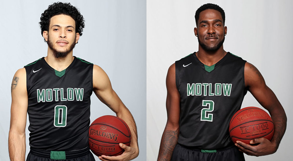 Leo Castillo, left, and Kin Webster played their last game as Motlow Bucks Saturday during the TCCAA/Region VII Tournament. Castillo, from the Virgin Islands, and Webster, from Nashville, spent three years at Motlow; the first as redshirts, and were members of teams that won 71 games and two state championships. Motlow State photo.