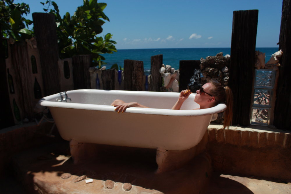 The glorious outdoor bathtub at  Jake's Hotel , Treasure Beach.