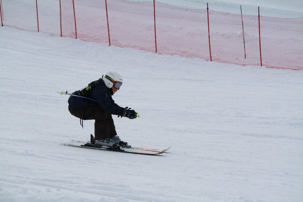 We are lucky to have enough snow to ski, but barely!  Grant is on the ski club J6 ski team.  His first race was at Snow King resort (3 blocks away!) on the 31st of December.