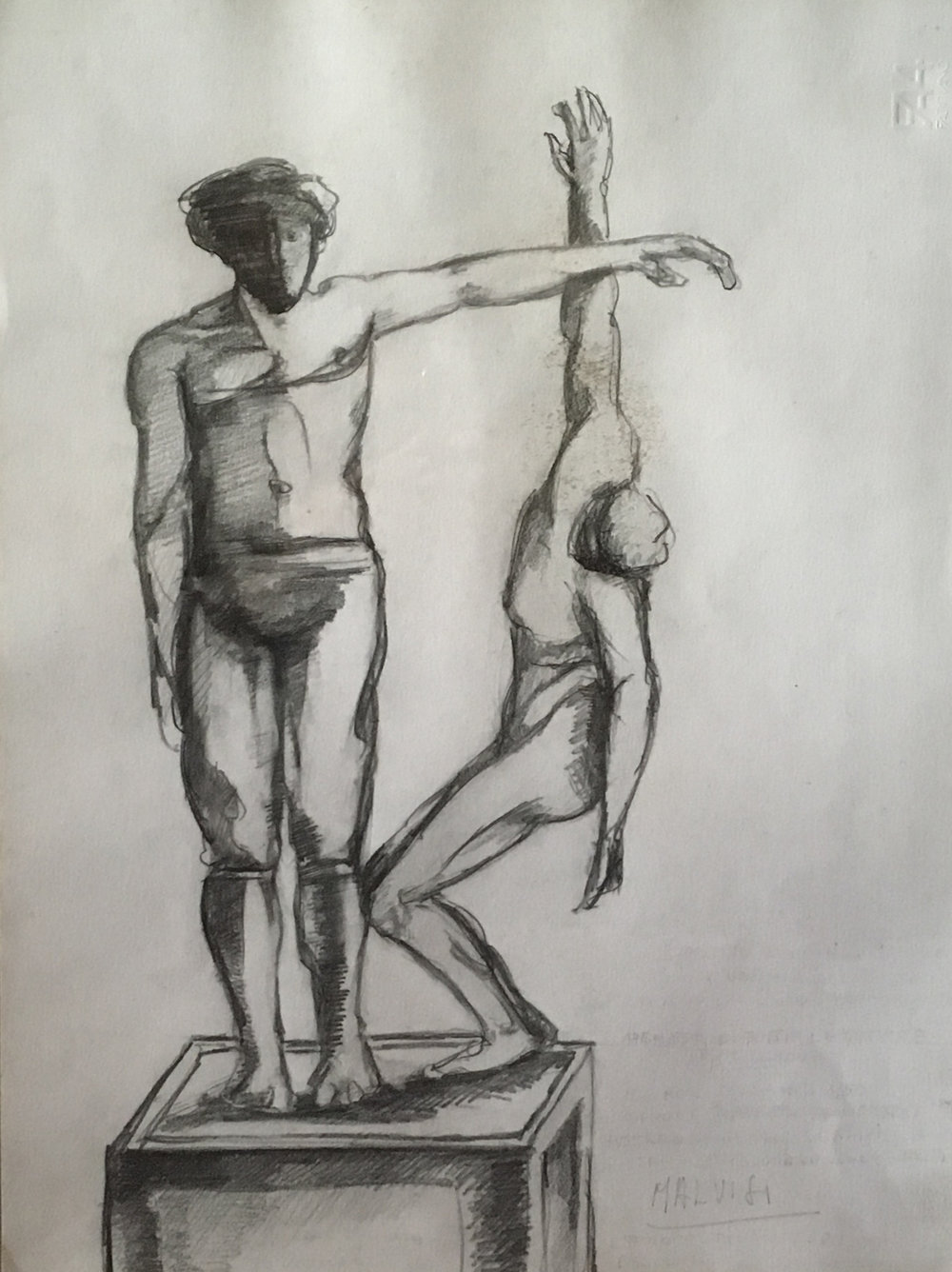 <b>Idea for a monument to the death</b><br> (Orig. Idea per un monumento ai caduti) <br> 1998 Pencil on cardboard <br> cm 34 x 50