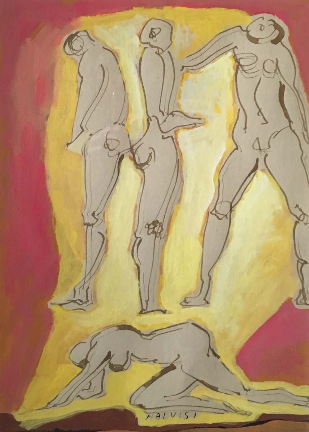 <b>Different orthodoxy</b><br> (Orig. Diversa ortodossia) <br> 1980 Ink and watercolor <br> cm 34 x 50