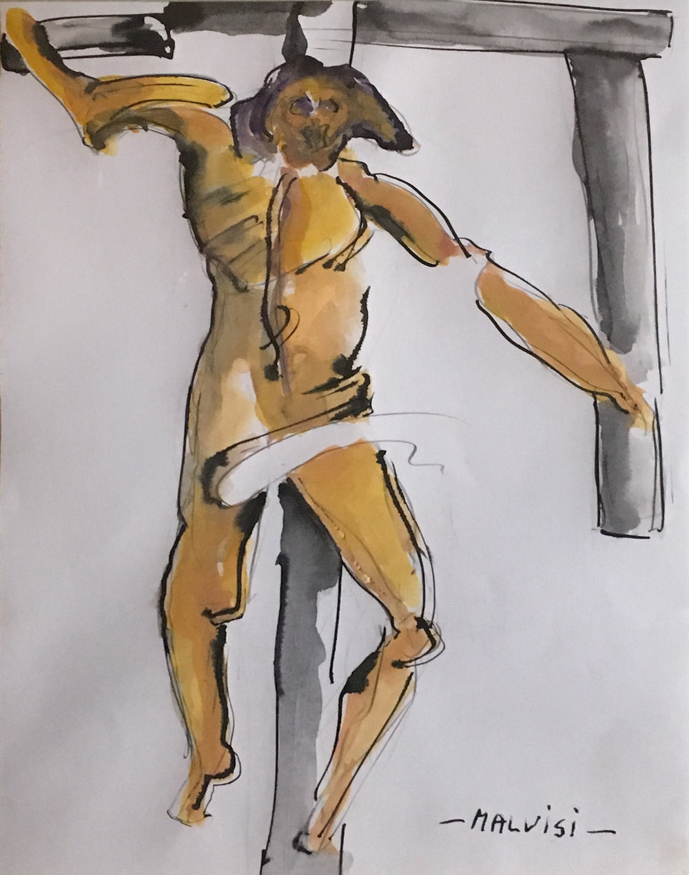 <b>Crucifix</b><br> (Orig. Crocifisso) <br> 2009 Indian ink and watercolor <br> cm 34 x 49