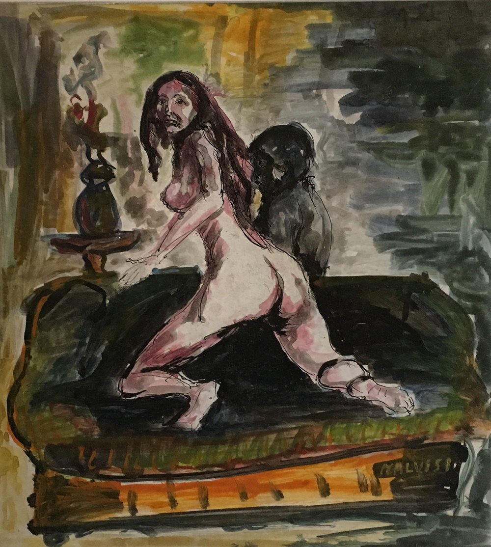 <b>Naked on the sofa</b><br> (Orig. Nudo sul sofa') <br> 1972 Ink and watercolor <br> cm 48 x 57