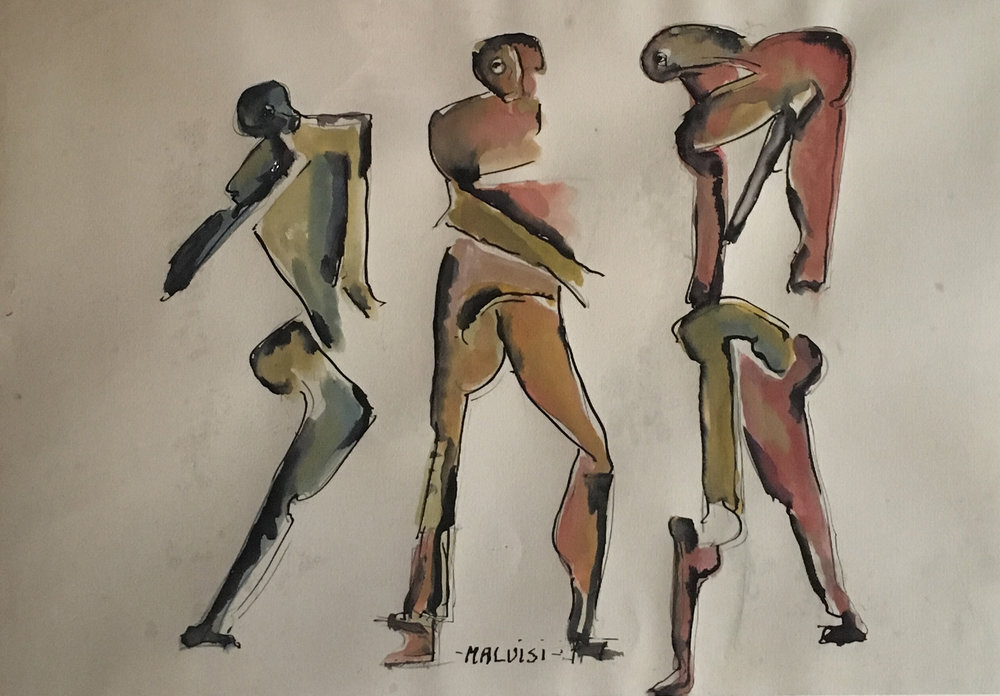 <b>Three figures</b><br> (Orig. Tre figure) <br> 2004 Ink and tempera on cardstock, cm 70 x 47