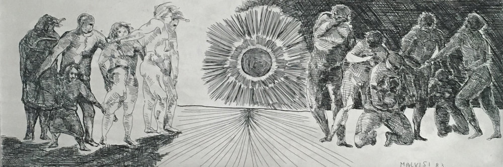 <b>Coveted torment of light</b><br> (Orig. Agognato tormento di luce) <br> 1987 Etching acquatint, cm 29 x 93