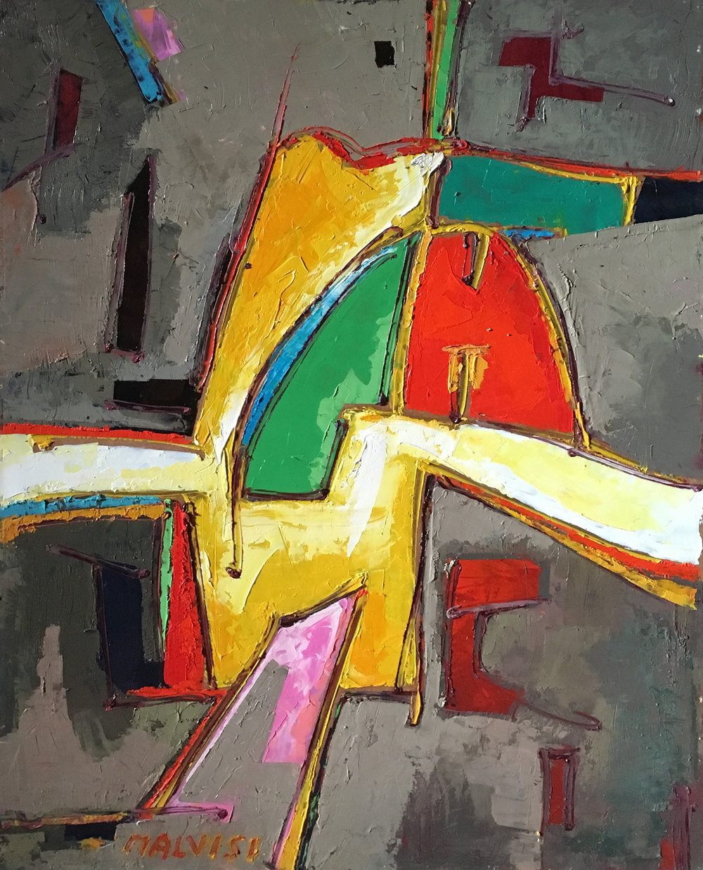 <b>From the Big Bang onwards</b><br> (Orig. Dal Big Bang in poi) <br>2007 Oil on wood <br>cm 60 x 80
