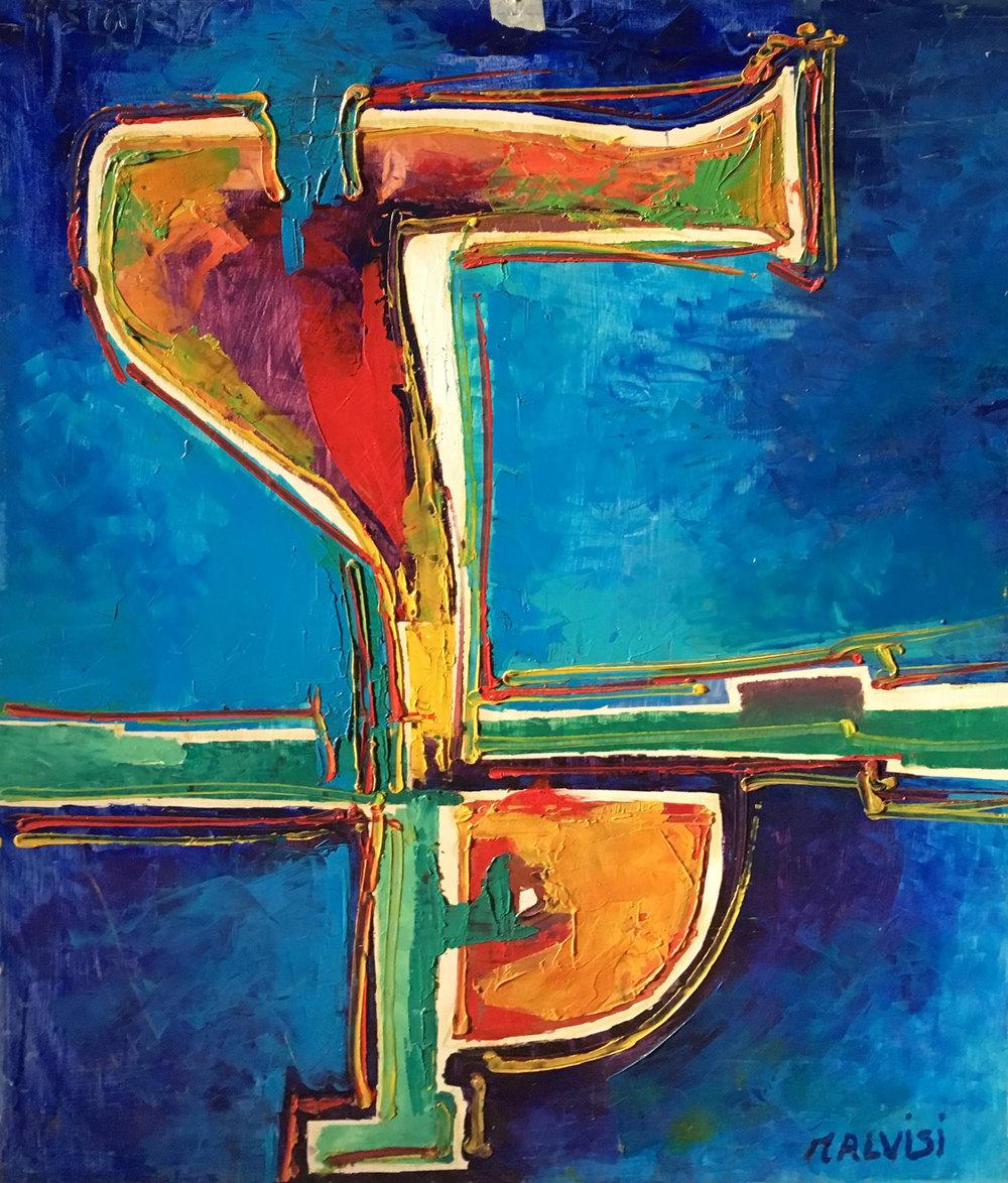 <b>The origin of time</b><br> (Orig. Le origini del tempo) <br> 1992 Oil on wood <br> cm 60 x 80