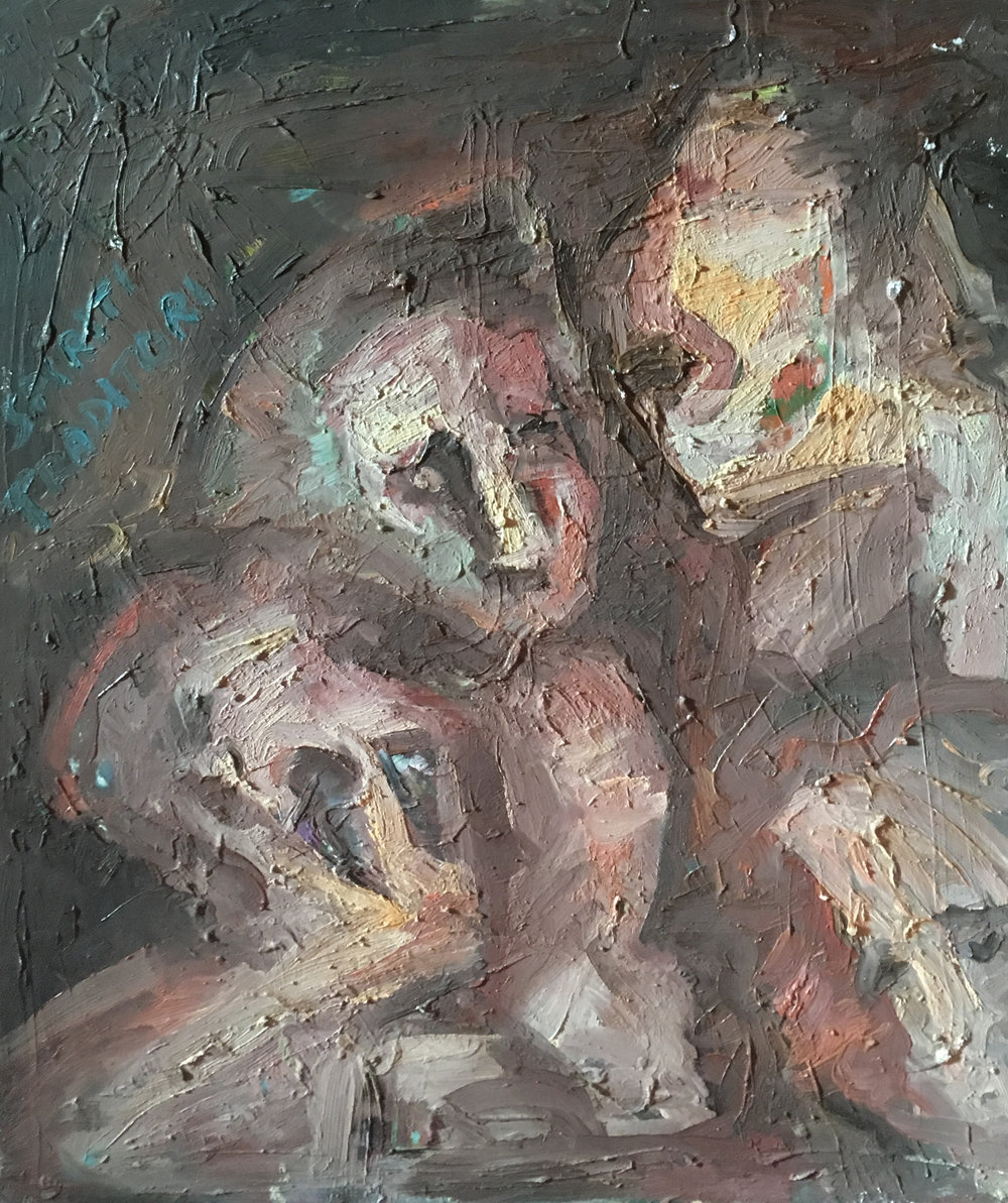 <b>Secret meeting</b><br> (Orig. Conciliabolo) <br> 1971 Oil on wood <br> cm 60 x 80