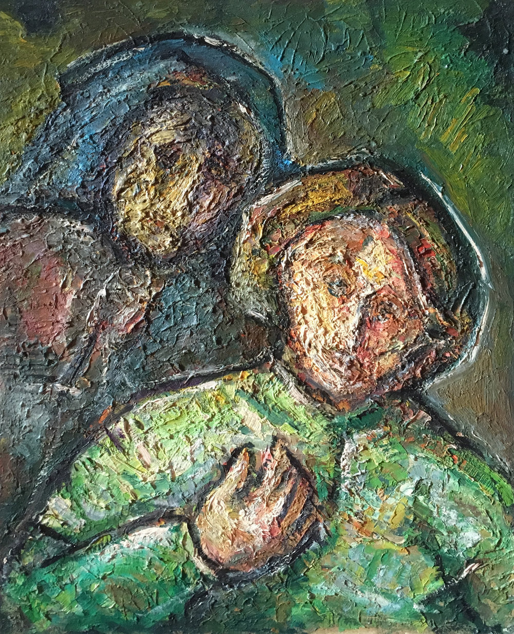 <b>Emerging in the color</b><br> (Orig.Emergere nel colore) <br> 1984 Oil on canvas <br> cm 60 x 80