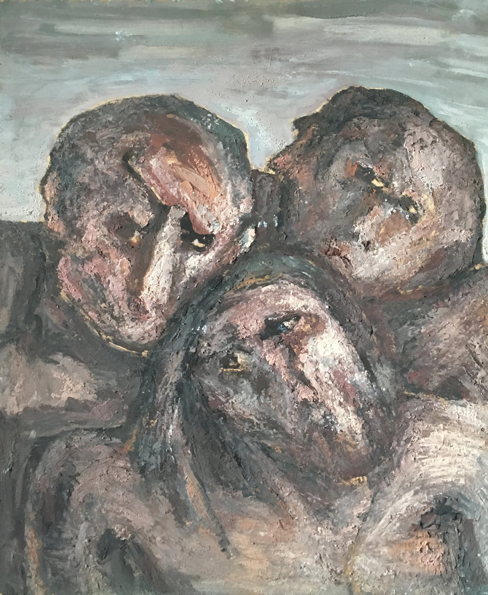 <b>Three gigantic figures</b><br> (Orig. Tre figure gigantesche) <br> 1976 Oil on wood <br> cm 60 x 80